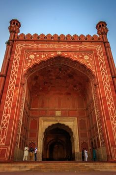 Entrance to the grand Mosque in Lahore, Pakistan.
