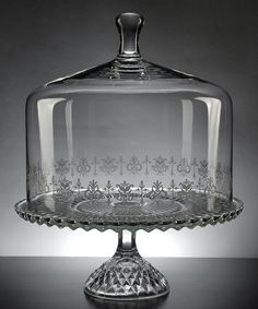 Crystal Cake Stand With Lid Etched