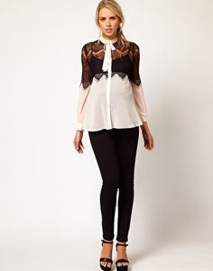 Enlarge ASOS Maternity Lace Insert Pussy Bow Blouse