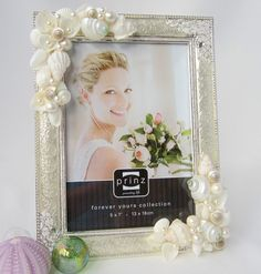 Beach Decor Seashell Frame - Beach Wedding Shell Frame with Pearls, 5x7 Silver