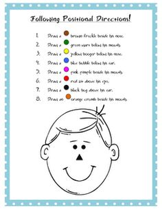 Free speech therapy worksheets and activities (articulation, receptive/expressive language) for speech-language pathologists, teachers, parents. Speech Therapy Worksheets, Speech Therapy Activities, Speech Language Pathology, Language Activities, Speech And Language, Preschool Activities, Following Directions Activities, Receptive Language, Positional Language