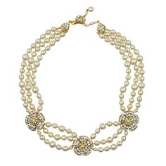 Miriam Haskell Flower Pearl Necklace