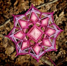 Violet Crystal, double-sided yarn mandala ~ Ojo de Dios, 5.7 inches (14 cm), 8-sided, hanging mobile