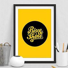 Rise and Shine Typography Art Print Home Decor The Motiva...
