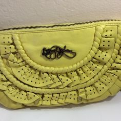 Betsey Johnson Yellow Leather Clutch Bag Pre-loved Betsey Johnson Bags Clutches & Wristlets
