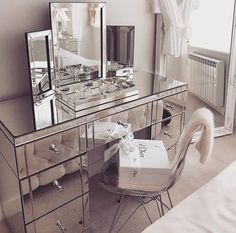 Christian Dior at home with mirrored furniture in this Art Deco-esque scheme Mirrored Bedroom Furniture, Bedroom Decor, Blue Bedroom, Vanity Room, Makeup Room Decor, Glam Room, Room Goals, Beauty Room, Home Decor
