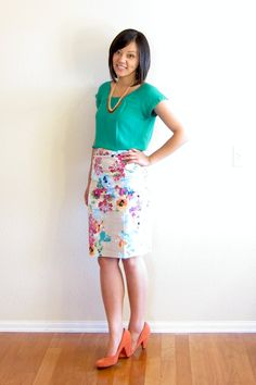 Colorful floral pencil skirt with simple colorful top // Putting Me Together