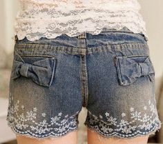 bowknot lace embroidery denim shorts hot pants Cute for Granddaughter's! Cute Fashion, Girl Fashion, Fashion Outfits, Womens Fashion, Unique Outfits, Cute Outfits, Lace Shorts, Denim Shorts, Kids Hair Bows