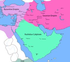 """Map of Persia and its surrounding regions on the eve of the Muslim invasions. """"The Muslim conquest of Persia, also known as the Arab conquest of Iran led to the end of the Sasanian Empire in 651 and the eventual decline of the Zoroastrian religion in Iran"""" -wiki"""