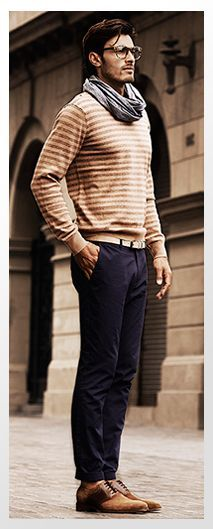 Love this look -- although so many North Carolina men refuse to wear a scarf, the sweater and shoes themselves could still make any ensemble look polished.