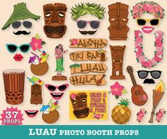 LUAU Photo Booth Props - Hawaiian - Luau - Beach Party - Tropical - Wedding - Birthdays - Summer - Printable DIY PDF - 37 Photo Booth Props $6.99