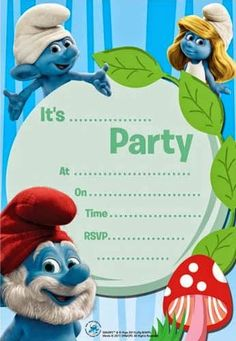 Trying to throw a Smurfs Party or find some decent printables is actually a little more difficult than expected. While there are a ton of coloring pages out there (just search: free printables smur… Printable Invitation Templates, Printable Cards, Free Printables, Bday Invitation Card, Birthday Party Invitations, Birthday Cakes, Monsters Inc Invitations, Monsters Inc Baby Shower, 4th Birthday Parties