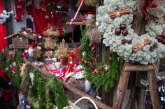 Old Time Christmas Fair of Lohja, The wreath is made from dried reindeer moss, and the small building to the end, with the Tomten in front is a Storage Building.