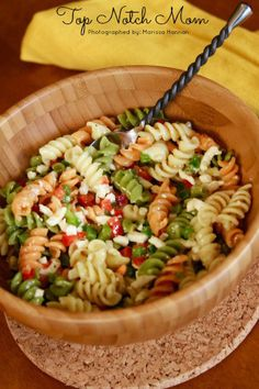 Pasta salad made with Italian dressing - I would add water chestnuts and snap peas so it's more like Newks pasta salad