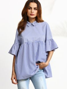 Shop Black And White Striped Ruffle Sleeve Babydoll Top online. SheIn offers Black And White Striped Ruffle Sleeve Babydoll Top & more to fit your fashionable needs. Half Sleeve Women, Half Sleeves, Cute Summer Tops, Mode Hijab, Collar Blouse, Mode Inspiration, Look Fashion, Fashion Women, Fashion Black