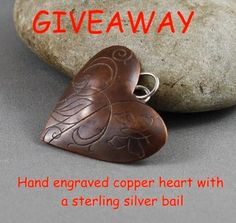 Jewelry Designer Blog. Jewelry by Natalia Khon: Hand engraved copper heart GIVEAWAY Ends 03 / Feb / 2015 Open Worldwide #giveaway #enter #win #jewelry #heart #stvalentine