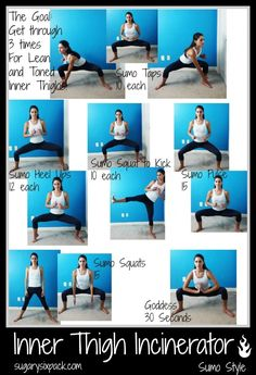 Inner Thigh Incinerator Workout | Tone your inner thighs in 6 moves! http://www.Sugarysixpack.com #totalbodytransformation