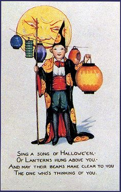 Halloween Postcard Boy with Chinese Lanterns Moon Face Tuck Series 100 Vintage Halloween Images, Retro Halloween, Halloween Photos, Halloween Signs, Vintage Holiday, Holidays Halloween, Halloween Crafts, Happy Halloween, Halloween Magic