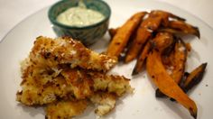 Fancy Fish 'n' Chips with fresh dill & caper sauce - A large portion is around 400 calories!