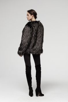 Warm and good looking.  Quality Here Soon to buy on Ebay Black Fur Jacket, Faux Fur Jacket, Fur Coat, Short Fur Jackets, Fake Fur, How To Look Better, Warm, Sweaters, Stuff To Buy