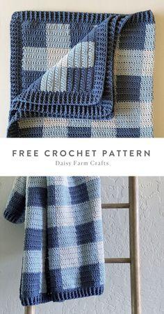 Free Pattern - Crochet Cluster Stitch Gingham Blanket by Daisy Farm Crafts. Crochet Blanket Patterns, Crochet Stitches, Crochet Hooks, Free Crochet, Baby Blanket Crochet, Crochet For Kids, Knit Crochet, Crochet Style, Afghan Patterns