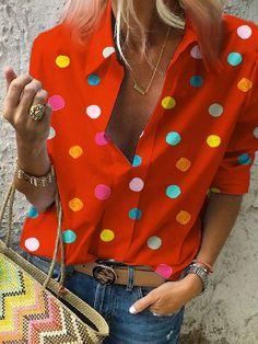 2020 Spring Women Bohemia Dot Print Blouse Pull Blusas Casual Tops Ladies Shirt Chemisier Femme Plus Size Hawaiian Shirt – fashion Blouse En Coton, Polka Dot Shirt, Polka Dots, Collar Styles, Look Fashion, Types Of Sleeves, Shirt Blouses, Red Blouses, Blouses For Women