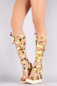 Floral Leg Wrap Espadrille Platform Wedge | UrbanOG