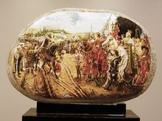 La rendicion de Granada. Oleo sobre piedra 12 x 7 cm.
