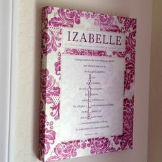 """Love Letter for """"Izabelle""""from the heart of God's Word shown in Raspberry and Cream.   Order your unique and personalized """"You in the Word"""" in *ANY name for your special someone and lift a heart with this inspiring gift.  * over 1500 very original first and last names have been found so far! I haven't been stumped yet! :)  Choose from 10 beautiful colors (search """"you in the word"""" on Pinterest)."""