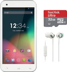 BLU Studio 5.5 D610a Unlocked Dual SIM GSM Smartphone in White with 32GB microSD and Sony Headphones - For Sale