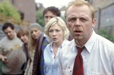 Nick Frost,Penelope Wilton,Lucy Davis,Dylan Moran,Kate Ashfield and Simon Pegg in Shaun of the Dead (Edgar Wright) 2004