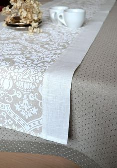Easter Table Runner Shabby Chick Runner Linen Runner Weddings Runner With White Print And White Borders Shabby Chick, Baby Shower Table, Rustic Table, Shabby Chic Style, Table Covers, Table Linens, Table Runners, Decorating Your Home, Home Accessories