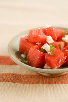 Watermelon Salad With Mint Leaves on PaulaDeen.com