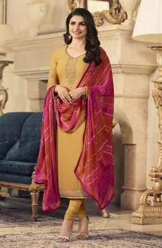 Celebrate This Festive Season Wearing This Designer Straight Cut Suit In Musturd Yellow Color Paired With Contrasting Red And Pink Colored Shaded Dupatta. Buy This Dress Material Now. Ladies Suits Indian, Suits For Women, Clothes For Women, Churidar Suits, Salwar Kameez, Straight Cut Dress, Bollywood Suits, Designer Suits Online, Prachi Desai