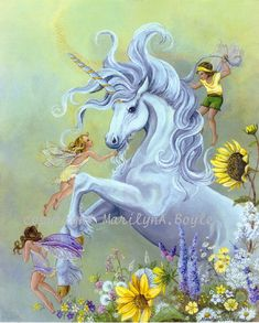 GICLEE UNICORN and FAIRIES; fantasy, dancing in the garden, playful, flowers, 13 x 16 inches, wall art, by OriginalSandMore on Etsy