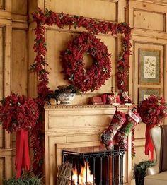 Christmas Decor Inspiration - Love this mantel....