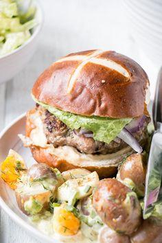 Apple Mustard Pork Burgers - My Kitchen Love - Easy homemade burger recipe of A. - Apple Mustard Pork Burgers – My Kitchen Love – Easy homemade burger recipe of A… – Apple - Easy Homemade Burger Recipe, Best Homemade Burgers, Healthy Sandwich Recipes, Pita Burger Recipe, Pork And Apple Burgers, Pork Burgers, Carnitas, Hot Dogs, Tzatziki Recipes