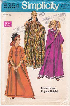 Vintage Simplicity Sewing Pattern 8354 Caftan Muumuu by Ziatacraft