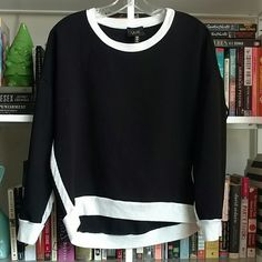 Cute Black & White Sweater Lightweight sweater, cute shape.   Adorable, versatile piece. W5 Sweaters Crew & Scoop Necks