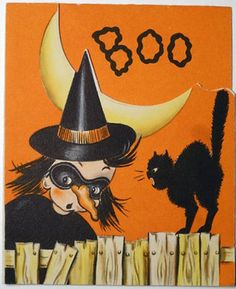 #253-Spooky Black Cat Scares the Witch! Vintage Halloween Greeting Card