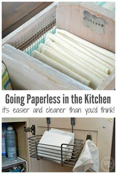 Going paperless in the kitchen was easier than I ever thought possible! With a couple of easy steps, you can get rid of those paper towels and save money! Paper Towel Storage, Cloth Paper Towels, Cloth Napkins, Recycling, Kitchen Remodel Cost, Natural Cleaning Products, Household Products, Household Tips, Kitchen Hacks