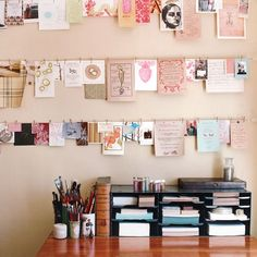 decorate | walls, craft room. wire for pinning cards and art and any small sheet of paper. Cute and keeps things organized!