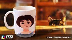 Vetorização de imagem e impressão em caneca de porcelana por Foco Design & Gráfica.