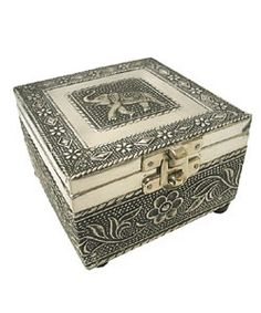 Embossed Elephant Jewelry Box (India) | Overstock.com Shopping - Great Deals on Jewelry Boxes