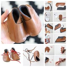 I love baby feet and those cute little shoes . What better than this adorable handmade baby gift ! I found the picture tutorials only .Here is a sim Baby Shoes Tutorial, Handgemachtes Baby, Diy Leather Projects, Diy Projects, Diy Bebe, Leather Baby Shoes, Handmade Baby Gifts, Shoe Pattern, Leather Gifts