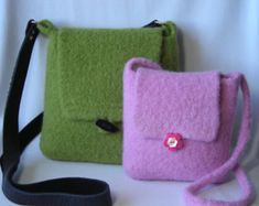 Knitting Pattern PDF - Felted Hipster Bags - hand knit felted wool - two sizes - permission to resell - tutorial for fabric lining