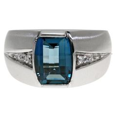 Custom Made Men's Barrel Cut London Blue Topaz Gemstone Diamond Ring In White Gold Available Exclusively at Gemologica.com