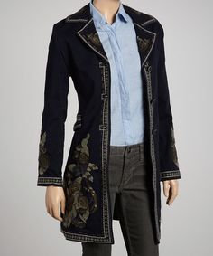 Take a look at this Navy Embroidered Coat by Aziza on #zulily today! $90 !!