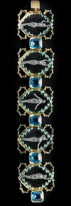René Lalique - Art Nouveau Parure Bague, Bracelet et Collier - 1904-06