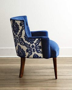 Shop Bright Tiffany Damask Chair from Haute House at Horchow, where you'll find new lower shipping on hundreds of home furnishings and gifts. Diy Chair, Chair And Ottoman, Chair Upholstery, Upholstered Chairs, Tufted Chair, Chair Fabric, Chair Pads, Funky Furniture, Furniture Design